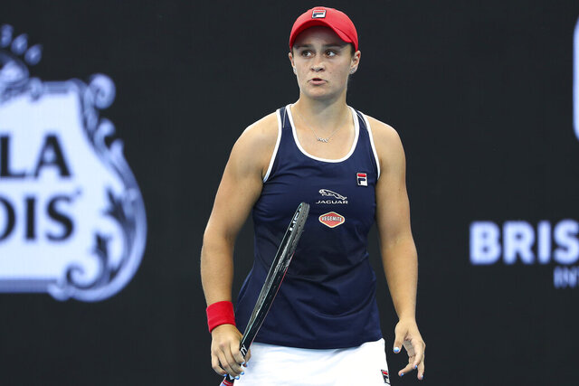 Ashleigh Barty of Australiareacts after missing a point during her match against Jennifer Brady of the United States at the Brisbane International tennis tournament in Brisbane, Australia, Thursday, Jan. 9, 2020. (AP Photo/Tertius Pickard)