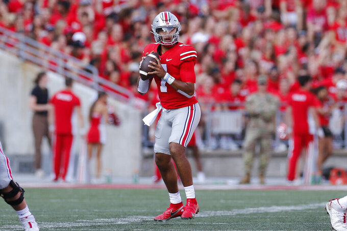 Ohio State quarterback C.J. Stroud looks to throw a pass against Tulsa during the first half of an NCAA college football game Saturday, Sept. 18, 2021, in Columbus, Ohio. (AP Photo/Jay LaPrete)