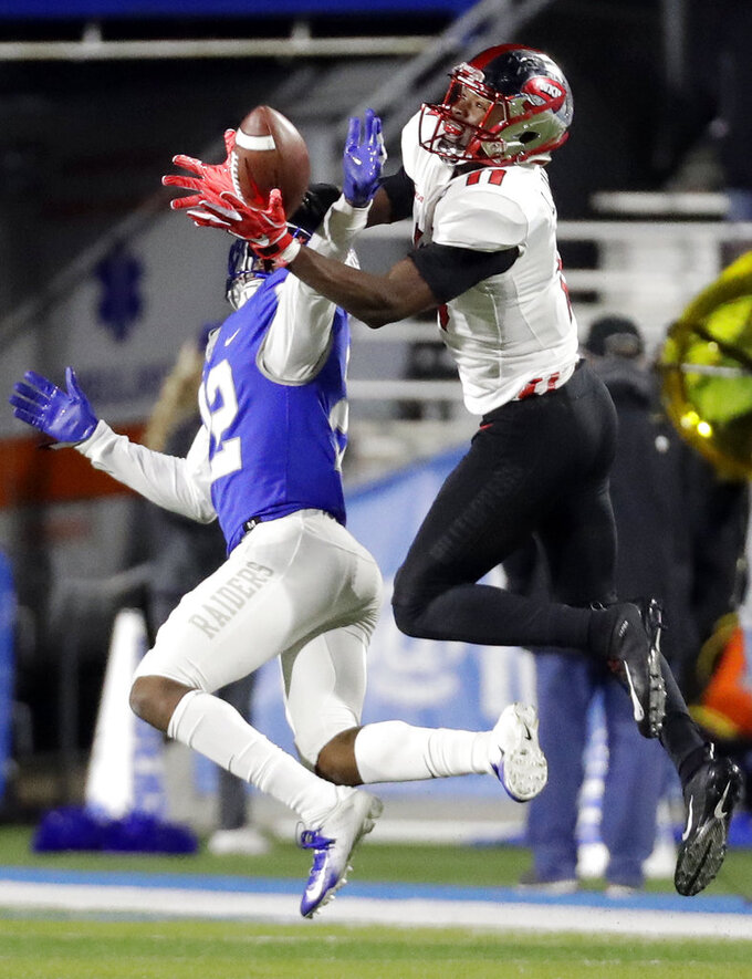 Middle Tennessee defensive back Cordell Hudson (22) breaks up a pass intended for Western Kentucky wide receiver Lucky Jackson (11) in the first half of an NCAA college football game Friday, Nov. 2, 2018, in Murfreesboro, Tenn. (AP Photo/Mark Humphrey)