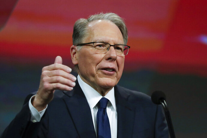 FILE - In this Saturday, April 27, 2019, file photo, National Rifle Association Executive Vice President Wayne LaPierre speaks at the NRA Annual Meeting of Members in Indianapolis. Former NRA President Oliver North says in court filings that he was thwarted at every step as he tried to raise alarm bells about alleged misspending at the gun lobbying group. He denied that he had tried to stage a coup to oust LaPierre. (AP Photo/Michael Conroy, File)