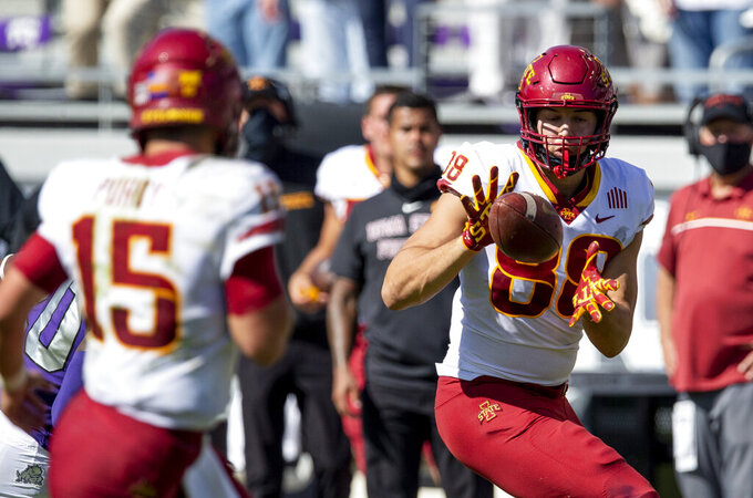 Iowa State tight end Charlie Kolar (88) catches a pass from quarterback Brock Purdy (15) during an NCAA college football game against TCU on Saturday, Sept. 26, 2020 in Fort Worth, Texas. Iowa won 37-34. (AP Photo/Brandon Wade)