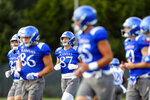 Kansas tight end Will Huggins (87) jogs with teammates during NCAA college football practice, Thursday morning, Aug. 19, 2021, at the University of Kansas in Lawrence, Kan. (Evert Nelson/The Topeka Capital-Journal via AP)