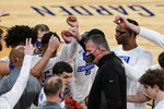 Creighton head coach Greg McDermott talks to his players before an NCAA college basketball game against Butler in the Big East conference tournament Thursday, March 11, 2021, in New York. (AP Photo/Frank Franklin II)