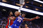 Portland Trail Blazers forward Skal Labissiere, left, grabs the ball next to Sacramento Kings guard Buddy Hield during the first quarter of an NBA basketball game in Sacramento, Calif., Tuesday, Nov. 12, 2019.(AP Photo/Rich Pedroncelli)