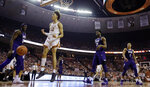 Texas forward Jaxson Hayes (10) celebrates after scoring against TCU during the second half of an NCAA college basketball game, Saturday, March 9, 2019, in Austin, Texas. (AP Photo/Eric Gay)