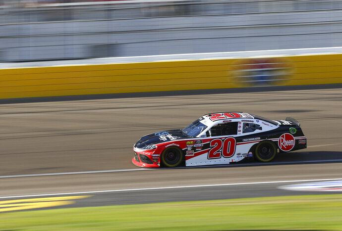 Christopher Bell drives during a NASCAR Xfinity Series auto race at Las Vegas Motor Speedway, Saturday, Sept. 14, 2019, in Las Vegas. (Chase Stevens/Las Vegas Review-Journal via AP)