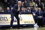 FILE - In this Feb. 16, 2019, file photo, Penn State head coach Patrick Chambers yells from the sideline during the first half of an NCAA college basketball game against Purdue in West Lafayette, Ind. Chambers will likely tinker with the lineup through a non-conference schedule that includes Alabama and NCAA tournament qualifiers Yale and Ole Miss. (AP Photo/Michael Conroy, File)