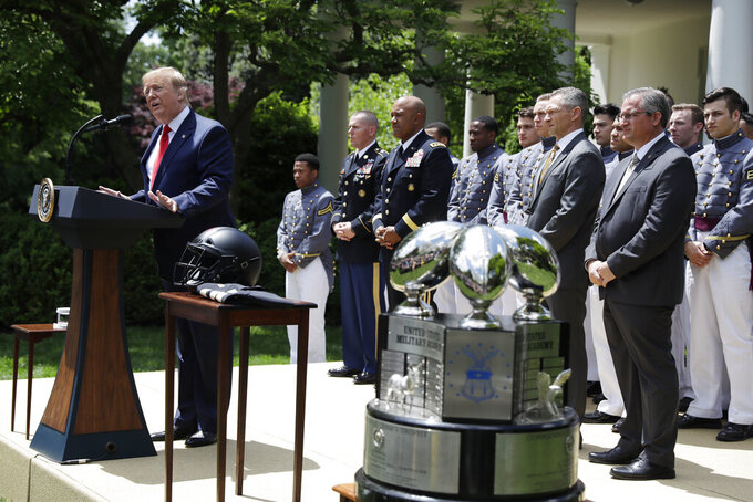 President Donald Trump speaks during the presentation of the Commander-in-Chief's Trophy to the U.S. Military Academy at West Point football team, in the Rose Garden of the White House, Monday, May 6, 2019, in Washington. (AP Photo/Evan Vucci)