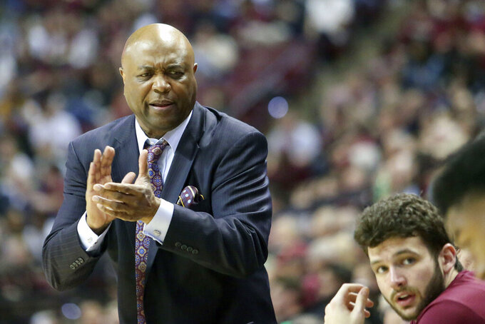 Florida State's head coach Leonard Hamilton talks up his bench in the second half of an NCAA college basketball game with Boston College Saturday, March 7 2020, in Tallahassee, Fla. Florida State won 80-62. (AP Photo/Steve Cannon)