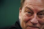 Michigan State head coach Tom Izzo smiles after a practice session for the semifinals of the Final Four NCAA college basketball tournament, Thursday, April 4, 2019, in Minneapolis. (AP Photo/David J. Phillip)