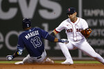 Boston Red Sox's Jose Iglesias turns to tage Tampa Bay Rays' Manuel Margot, who was out trying to stretch a single into a double during the fourth inning of a baseball game Wednesday, Sept. 8, 2021, at Fenway Park in Boston. (AP Photo/Winslow Townson)