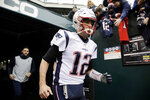 New England Patriots' Tom Brady runs onto the field before an NFL football game against the Philadelphia Eagles, Sunday, Nov. 17, 2019, in Philadelphia. (AP Photo/Matt Rourke)