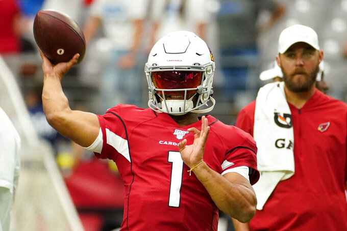 Arizona Cardinals quarterback Kyler Murray (1) warms up prior to an NFL football game against the Detroit Lions, Sunday, Sept. 8, 2019, in Glendale, Ariz. (AP Photo/Rick Scuteri)