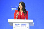 Amal Clooney spekas during the Global Conference for Media Freedom at The Printworks in London, Wednesday, July 10, 2019. (Dominic Lipinski/PA via AP)