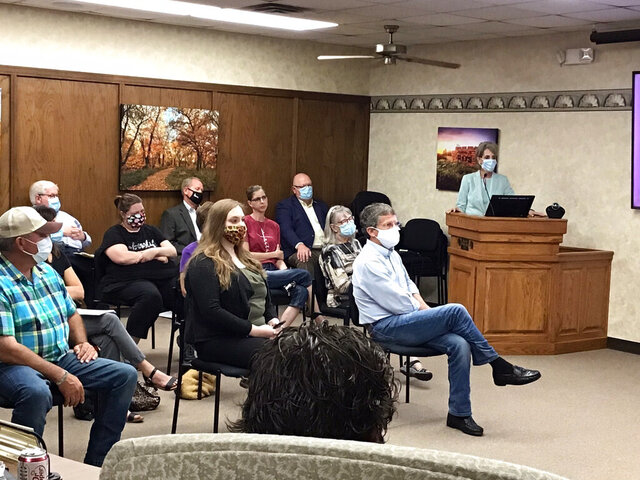 Fort Hays State University President Tisa Mason told the Hays City Commission at its regular meeting in City Hall on Thursday, July 23, 2020, in Hays, Kan., that the university will require face masks on campus when nearly 4,000 students return in August, and said a consistent message from the city would be helpful. (Margaret Allen/The Hays Daily News via AP)