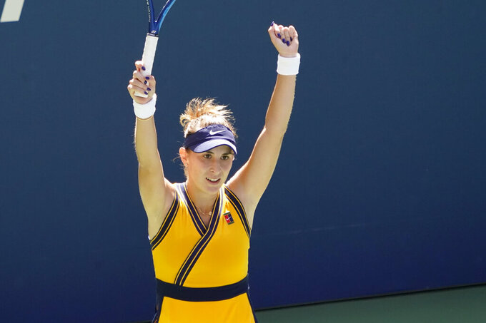 Belinda Bencic, of Switzerland, celebrates her win over Iga Swiatek, of Poland, during the fourth round of the US Open tennis championships, Monday, Sept. 6, 2021, in New York. (AP Photo/Elise Amendola)