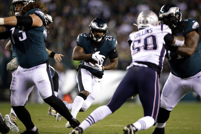 Philadelphia Eagles' Miles Sanders rushes during the first half of an NFL football game against the New England Patriots, Sunday, Nov. 17, 2019, in Philadelphia. (AP Photo/Matt Rourke)