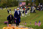 FILE - In this Oct. 27, 2020, file photo, then-Democratic presidential candidate former Vice President Joe Biden leaves after speaking at Mountain Top Inn & Resort in Warm Springs, Ga. President-elect Joe Biden has evoked Franklin Delano Roosevelt in promising a remaking of America unseen since the New Deal. Pledging to emulate some of the loftiest reforms in the nation's history has left him with towering promises to keep. And Biden hopes to deliver against the backdrop of the pandemic and searing national division. (AP Photo/Andrew Harnik, file)
