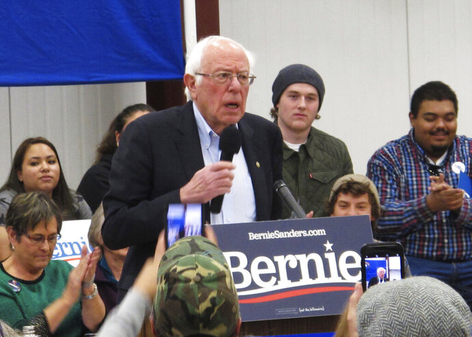 Democratic presidential hopeful Bernie Sanders speaks before about 200 people at a rally at a community center on tribal land in Carson City, Nev., Monday, Dec. 9, 2019. He said Monday he believes he has