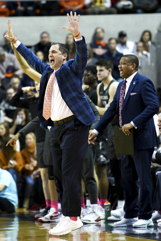 Iowa State head coach Steve Prohm calls a play from the sidelines during the first half of an NCAA college basketball game against Auburn Saturday, Jan. 25, 2020, in Auburn, Ala. (AP Photo/Julie Bennett)