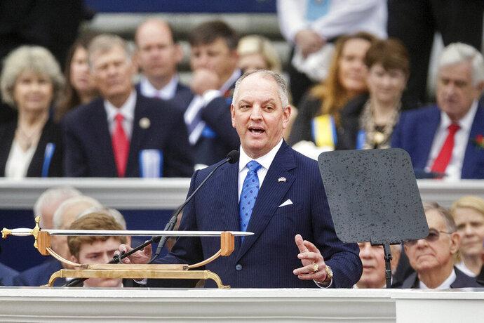Louisiana Gov. John Bel Edwards speaks during his inauguration at the state Capitol in Baton Rouge, La., Monday, Jan. 13, 2020. (AP Photo/Brett Duke)