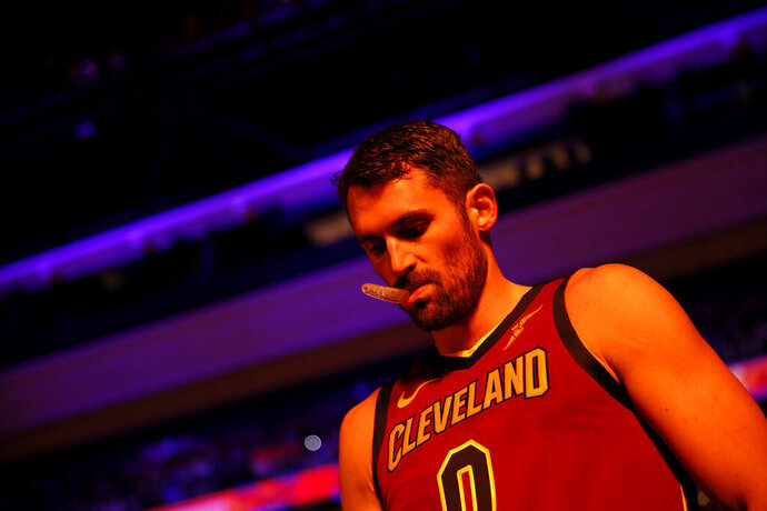 Cleveland Cavaliers' Kevin Love walks the court before an NBA basketball game against the Philadelphia 76ers, Tuesday, Nov. 12, 2019, in Philadelphia. (AP Photo/Matt Slocum)