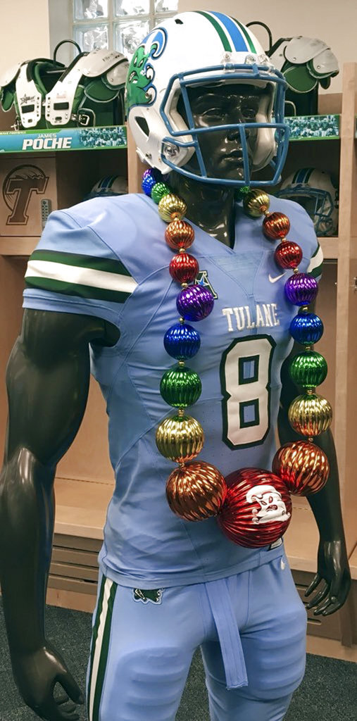 This undated photo provided by the Tulane Athletics Department shows the team's Takeaway Beads. NCAA college football sidelines across the country are featuring everything from wrestling-style robes to boxing gloves as teams try to mimic the success Miami had last season with its turnover chain. (Tulane Athletics Department via AP)