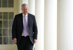 FILE - In this June 16, 2020, file photo, White House chief of staff Mark Meadows arrives for an event on police reform, in the Rose Garden of the White House in Washington. Voters in western North Carolina are choosing the Republican nominee for a congressional seat held by Meadows before he became Trump's chief of staff. Lynda Bennett and Madison Cawthorn were on Tuesday's ballot in the 11th Congressional District runoff. They were the top two vote-getters in a 12-candidate primary in March. (AP Photo/Evan Vucci, File)