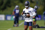 Seattle Seahawks safety Jamal Adams runs during practice drills at NFL football training camp, Wednesday, Aug. 12, 2020, in Renton, Wash. (AP Photo/Ted S. Warren, Pool)