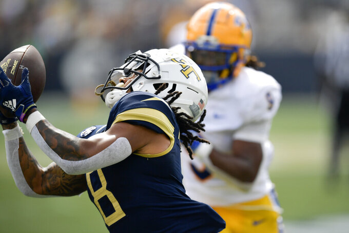 Georgia Tech wide receiver Nate McCollum (8) makes a touchdown catch against Pittsburgh during the first half of an NCAA college football game, Saturday, Oct. 2, 2021, in Atlanta. (AP Photo/Mike Stewart)