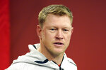 Nebraska coach Scott Frost answers a question during a news conference Tuesday, March 5, 2019, in Lincoln, Neb., ahead of spring NCAA college football practice. (AP Photo/Nati Harnik)