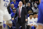 Seton Hall head coach Kevin Willard stands on the sideline during the first half of an NCAA college basketball game against Saint Louis, Sunday, Nov. 17, 2019, in St. Louis. (AP Photo/Jeff Roberson)