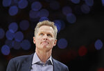 Golden State Warriors head coach Steve Kerr looks toward the scoreboard during the first half of Game 4 of the NBA basketball playoffs Western Conference finals against the Portland Trail Blazers, Monday, May 20, 2019, in Portland, Ore. (AP Photo/Ted S. Warren)