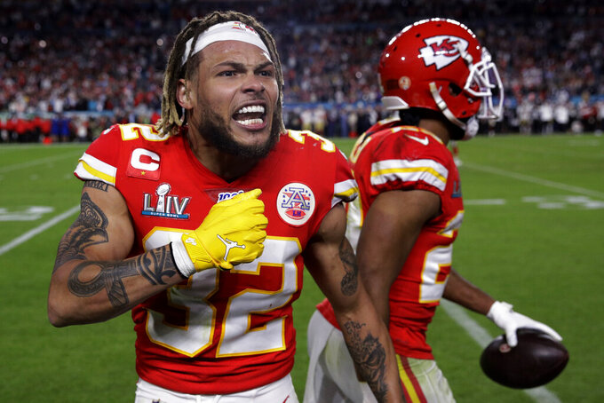 Kansas City Chiefs' Tyrann Mathieu (32) celebrates during the second half of the NFL Super Bowl 54 football game against the San Francisco 49ers Sunday, Feb. 2, 2020, in Miami Gardens, Fla. The Kansas City Chiefs won 31-20. (AP Photo/Patrick Semansky)