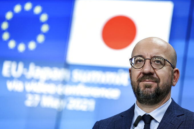 European Council President Charles Michel speaks during a media conference at the European Council building, after taking part in an EU Japan Summit via video-link with Japan's Prime Minister Yoshihide Suga and European Commission President Ursula von der Leyen, in Brussels, Thursday, May 27, 2021. (Kenzo Tribouillard, Pool via AP)