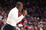 Dayton head coach Anthony Grant directs his players from the bench during the second half of an NCAA college basketball game against Drake, Saturday, Dec. 14, 2019, in Dayton, Ohio. (AP Photo/John Minchillo)