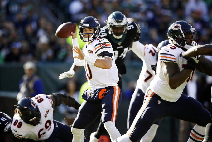 Chicago Bears' Mitchell Trubisky passes during the first half of an NFL football game against the Philadelphia Eagles, Sunday, Nov. 3, 2019, in Philadelphia. (AP Photo/Matt Rourke)