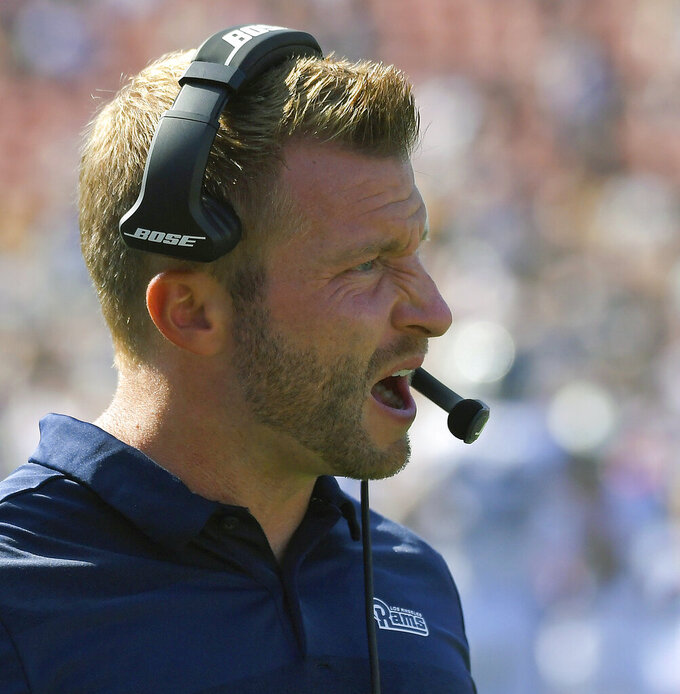 FILE - In this Aug. 25, 2018, file photo, Los Angeles Rams head coach Sean McVay watches during the second half of an NFL preseason football game against the Houston Texans, in Los Angeles. The Rams and New Orleans Saints will play in the NFC conference championship on Sunday, Jan. 20, in New Orleans. (AP Photo/Mark J. Terrill, File)
