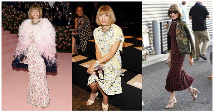 CORRECTS SPELLING OF KARAN - This combination photo shows, from left, Anna Wintour at The Metropolitan Museum of Art's Costume Institute benefit gala celebrating the opening of the