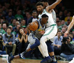 Indiana Pacers' Darren Collison tries to get around Boston Celtics' Marcus Smart during the second quarter of an NBA basketball game Friday, March 29, 2019, in Boston. (AP Photo/Winslow Townson)
