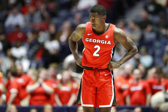 Georgia guard Jordan Harris walks up the court in the final seconds of an NCAA college basketball game against Missouri at the Southeastern Conference tournament, Wednesday, March 13, 2019, in Nashville, Tenn. Missouri won 71-61. (AP Photo/Mark Humphrey)
