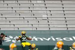 Green Bay Packers' Aaron Jones celebrates his touchdown catch during the first half of an NFL football game against the Detroit Lions Sunday, Sept. 20, 2020, in Green Bay, Wis. (AP Photo/Matt Ludtke)