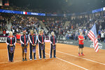 From left, United States' Fed Cup team members, captain Kathy Rinaldi, Sloane Stephens, Madison Keys, Coco Vandeweghe and Bethanie Mattek Sands, during the team presentation, prior to the Fed Cup semifinal, in Aix-en-Provence, southern France, Saturday, April 21, 2018. (AP Photo/Claude Paris)
