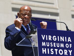 Georgia Congressman John Lewis speaks during an Arthur Ashe Boulevard ceremony at the Virginia Museum of History and Culture in Richmond, Va., Saturday, June 22, 2019. (Alexa Welch Edlund/Richmond Times-Dispatch via AP)