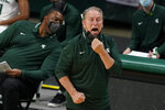 Michigan State head coach Tom Izzo yells from the sideline during the first half of an NCAA college basketball game against Detroit Mercy, Friday, Dec. 4, 2020, in East Lansing, Mich. (AP Photo/Carlos Osorio)