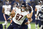 Chicago Bears tight end Jesper Horsted (87) makes a one-handed catch as he scores a touchdown against the Tennessee Titans in the second half of a preseason NFL football game Saturday, Aug. 28, 2021, in Nashville, Tenn. (AP Photo/Mark Zaleski)