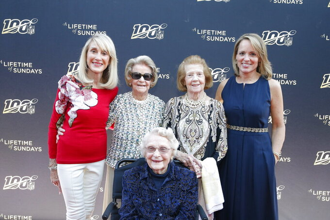 "From left, Norma Hunt, Martha Ford, Virginia McCaskey, seated, Patricia Rooney and Jane Skinner Goodell pose at the premiere of ""A Lifetime of Sundays,"" in Phoenix, March 25, 2019. The four NFL team owners were reticent about the project when approached by Jane Skinner Goodell, the commissioner's wife and an executive producer of the movie. Indeed, she received a polite no from each of the women, who range in age from 81 to 96. (Rick Scuteri/AP Images)"