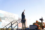 Democratic presidential candidate former Vice President Joe Biden waves after a rally at the Minnesota State Fairgrounds in St. Paul, Minn., Friday, Oct. 30, 2020. (AP Photo/Andrew Harnik)