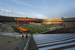 Michigan and Minnesota prepare to play their first match of the season at an almost empty TCF Bank Stadium in an NCAA college football game Saturday, Oct. 24, 2020, in Minneapolis. (AP Photo/Bruce Kluckhohn)