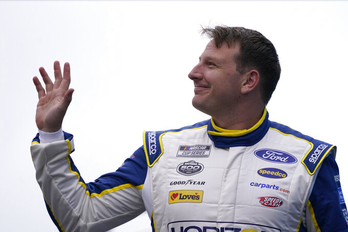 Michael McDowell at a NASCAR Cup Series auto race, Sunday, July 18, 2021, in Loudon, N.H. (AP Photo/Charles Krupa)